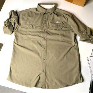 Columbia PFG Khaki Men Long Sleeve Fishing Shirt